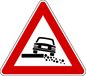 Traffic sign of Italy: Warning for a soft verge