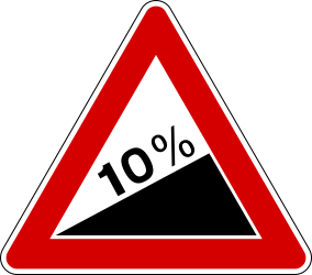 Traffic sign of Italy: Warning for a steep ascent