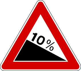 Traffic sign of Italy: Warning for a steep descent