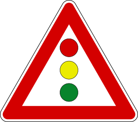 Traffic sign of Italy: Warning for a traffic light