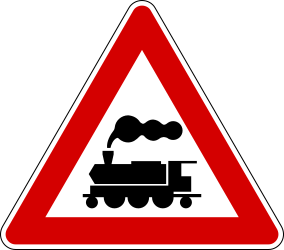 Traffic sign of Italy: Warning for a railroad crossing without barriers