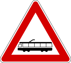 Traffic sign of Italy: Warning for trams