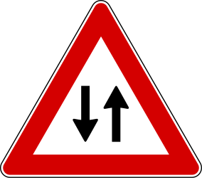 Traffic sign of Italy: Warning for a road with two-way traffic