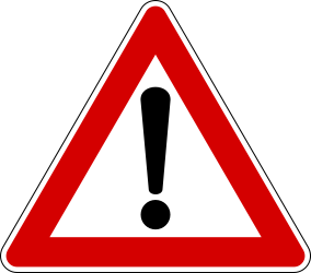 Traffic sign of Italy: Warning for a danger with no specific traffic sign
