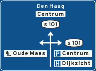 Traffic sign of Netherlands: Information about the directions of the crossroad