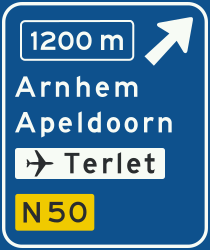 Traffic sign of Netherlands: Information about the next exit