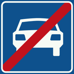 Traffic sign of Netherlands: End of the expressway