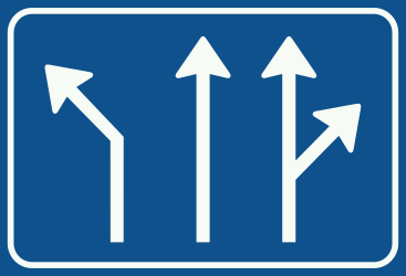 Traffic sign of Netherlands: Overview of the lanes and their direction