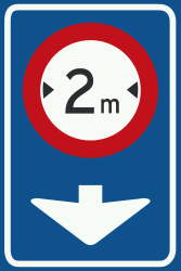 Traffic sign of Netherlands: Maximum width of a lane
