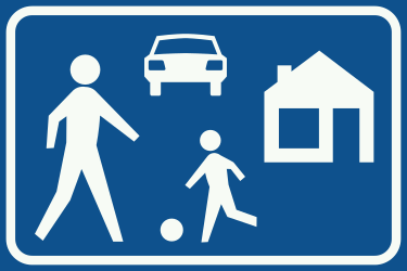 Traffic sign of Netherlands: Begin of a residential area
