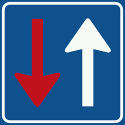 Traffic sign of Netherlands: Road narrowing, oncoming drivers have to give way