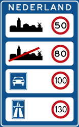 Traffic sign of Netherlands: National speed limits