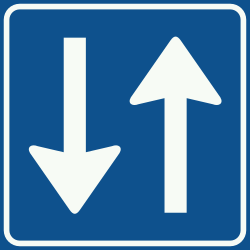 Traffic sign of Netherlands: Road with two-way traffic