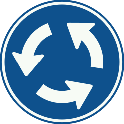 Traffic sign of Netherlands: Mandatory direction of the roundabout