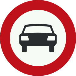 Traffic sign of Netherlands: Cars prohibited