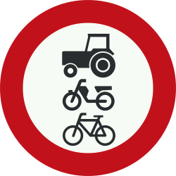 Traffic sign of Netherlands: Cyclists, mopeds and tractors prohibited