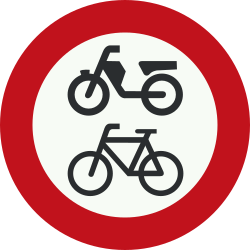 Traffic sign of Netherlands: Cyclists and mopeds prohibited