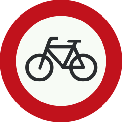 Traffic sign of Netherlands: Cyclists prohibited