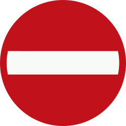 Traffic sign of Netherlands: Entry prohibited (road with one-way traffic)