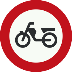 Traffic sign of Netherlands: Mopeds prohibited