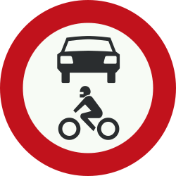 Traffic sign of Netherlands: Motorcycles and cars prohibited