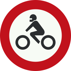 Traffic sign of Netherlands: Motorcycles prohibited