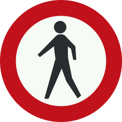 Traffic sign of Netherlands: Pedestrians prohibited