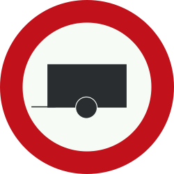 Traffic sign of Netherlands: Trailers prohibited