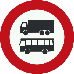 Traffic sign of Netherlands: Trucks and buses prohibited
