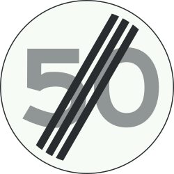 Traffic sign of Netherlands: End of the speed limit