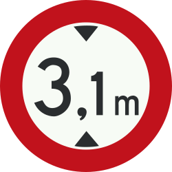 Traffic sign of Netherlands: Vehicles higher than indicated prohibited