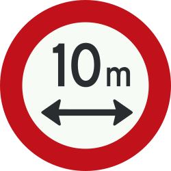 Traffic sign of Netherlands: Vehicles longer than indicated prohibited