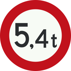 Traffic sign of Netherlands: Vehicles heavier than indicated prohibited