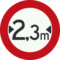 Traffic sign of Netherlands: Vehicles wider than indicated prohibited
