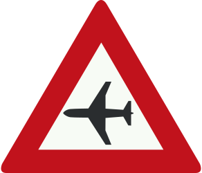 Traffic sign of Netherlands: Warning for low-flying aircrafts