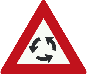 Traffic sign of Netherlands: Warning for a roundabout