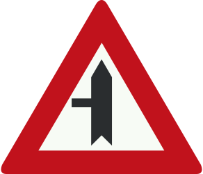 Traffic sign of Netherlands: Warning for a crossroad with a side road on the left