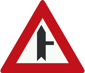 Traffic sign of Netherlands: Warning for side road on the right