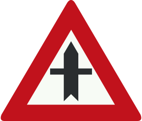 Traffic sign of Netherlands: Warning for a crossroad side roads on the left and right