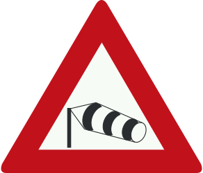 Traffic sign of Netherlands: Warning for heavy crosswind