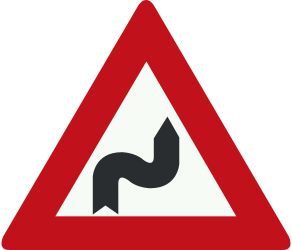 Traffic sign of Netherlands: Warning for a double curve, first right then left