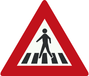 Traffic sign of Netherlands: Warning for a crossing for pedestrians