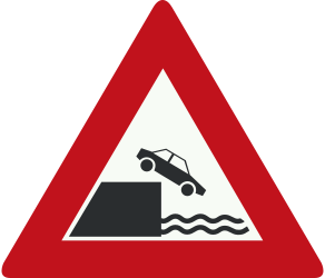 Traffic sign of Netherlands: Warning for a quayside or riverbank