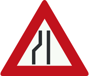 Traffic sign of Netherlands: Warning for a road narrowing on the left