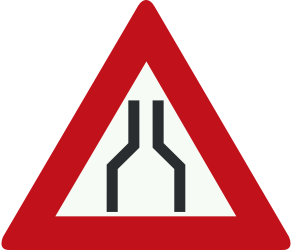 Traffic sign of Netherlands: Warning for a road narrowing