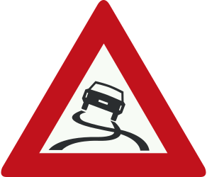Traffic sign of Netherlands: Warning for a slippery road surface