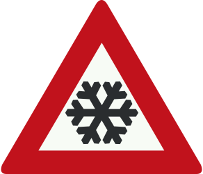 Traffic sign of Netherlands: Warning for snow and sleet