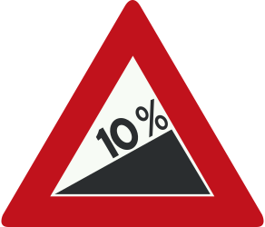 Traffic sign of Netherlands: Warning for a steep ascent