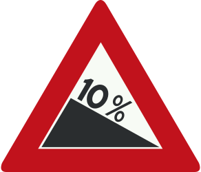 Traffic sign of Netherlands: Warning for a steep descent
