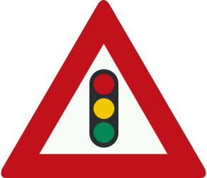 Traffic sign of Netherlands: Warning for a traffic light